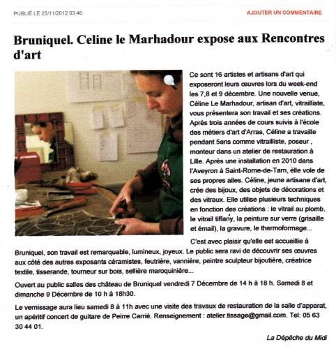rencontres d'art de bruniquel, vitrail, vitraux, aveyron, millau, st rome de tarn, celine le marhadour